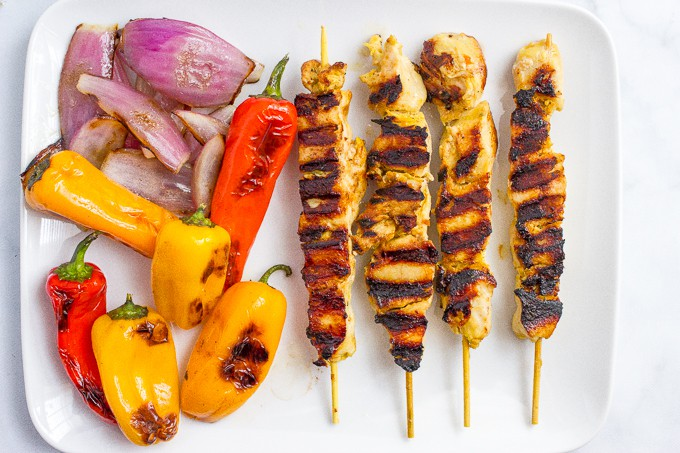 Grilled chili lime chicken kabobs with grilled peppers