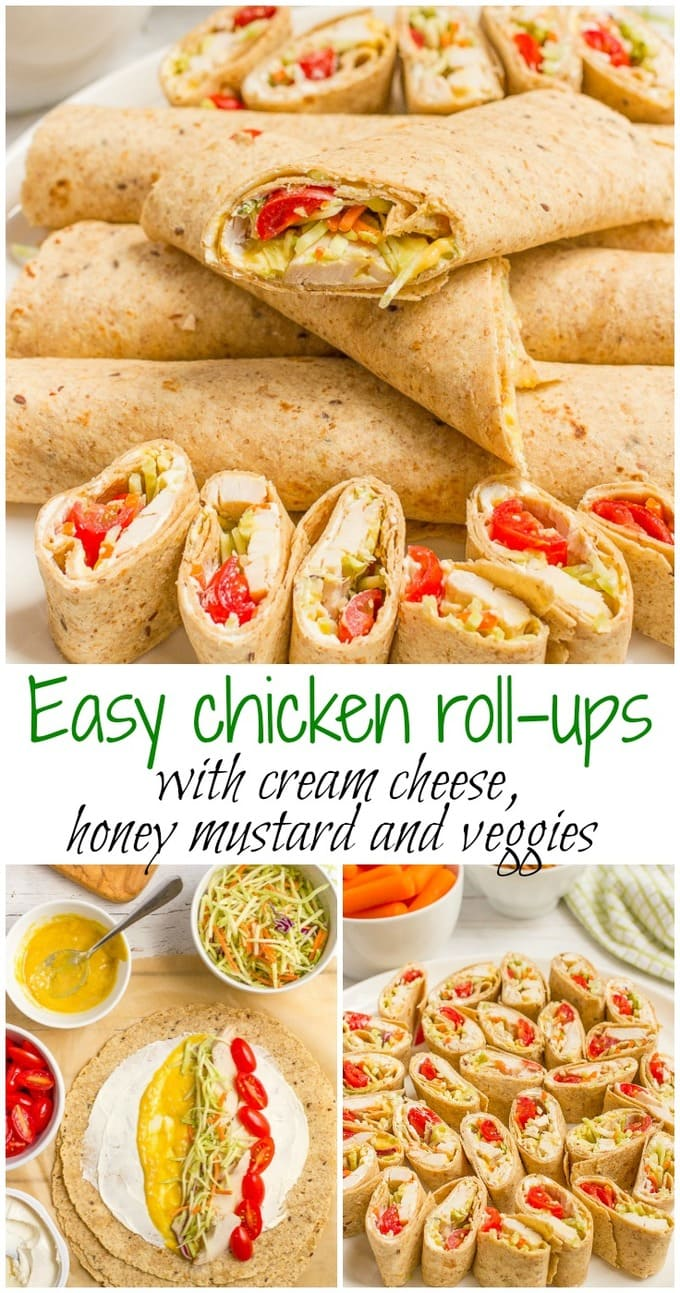 Easy chicken roll ups with cream cheese and veggies - great for a healthy lunch, appetizer or tailgating recipe