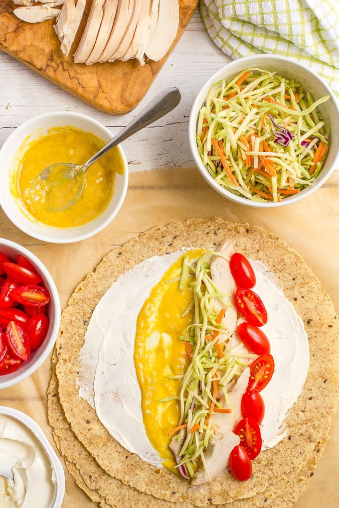 Easy chicken roll ups with cream cheese and veggies
