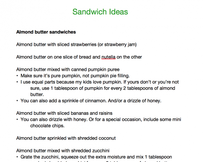 Sandwich ideas printable