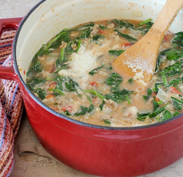 Turkey bean spinach soup