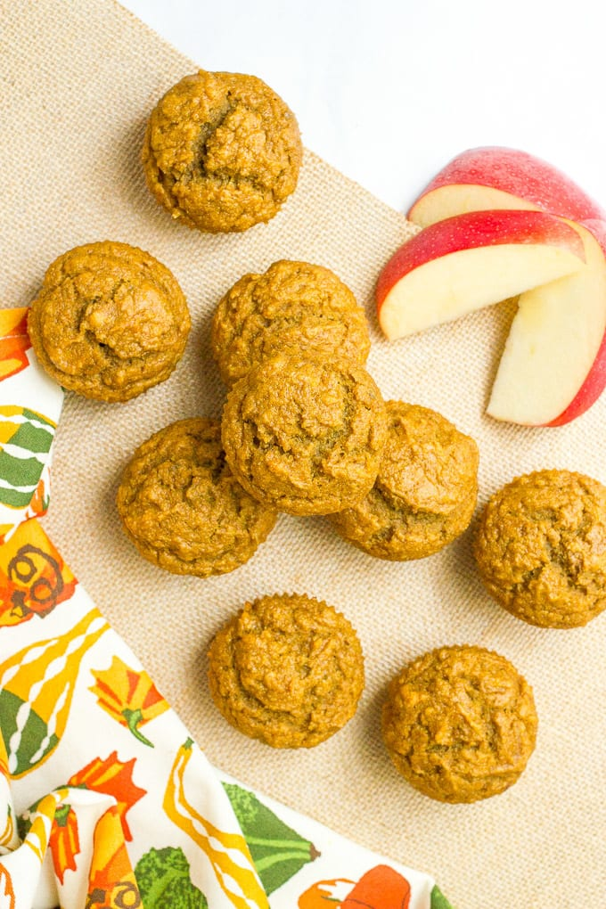 Apple and butternut squash muffins are a great, healthy fall treat - delicious for breakfast or packing in school lunches!