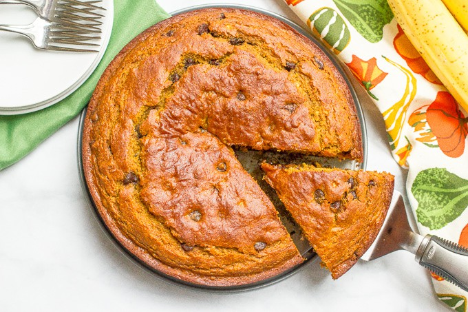 Banana pumpkin chocolate chip cake