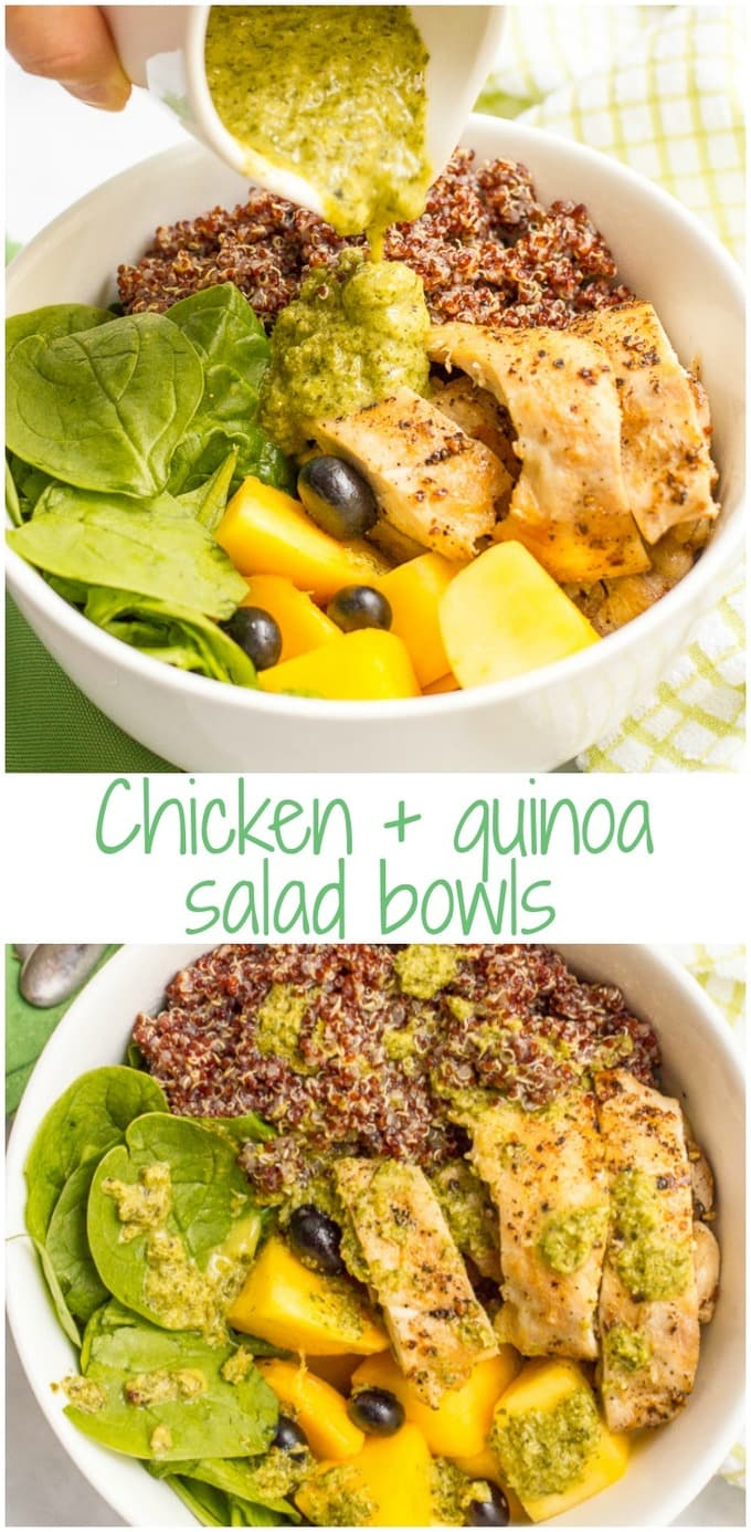 Chicken quinoa salad bowls are a quick and healthy dinner featuring chicken thighs, red quinoa, fresh fruit and a zesty lemon-mint dressing!