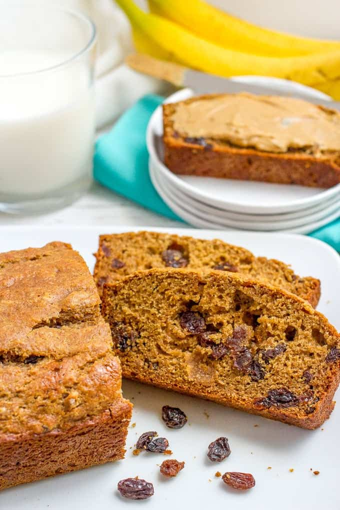 This easy whole wheat cinnamon raisin bread recipe requires no yeast, no kneading, no bread machine. It's lightened up, naturally sweetened, soft and so delicious! #cinnamonraisin #baking #breads #breakfast