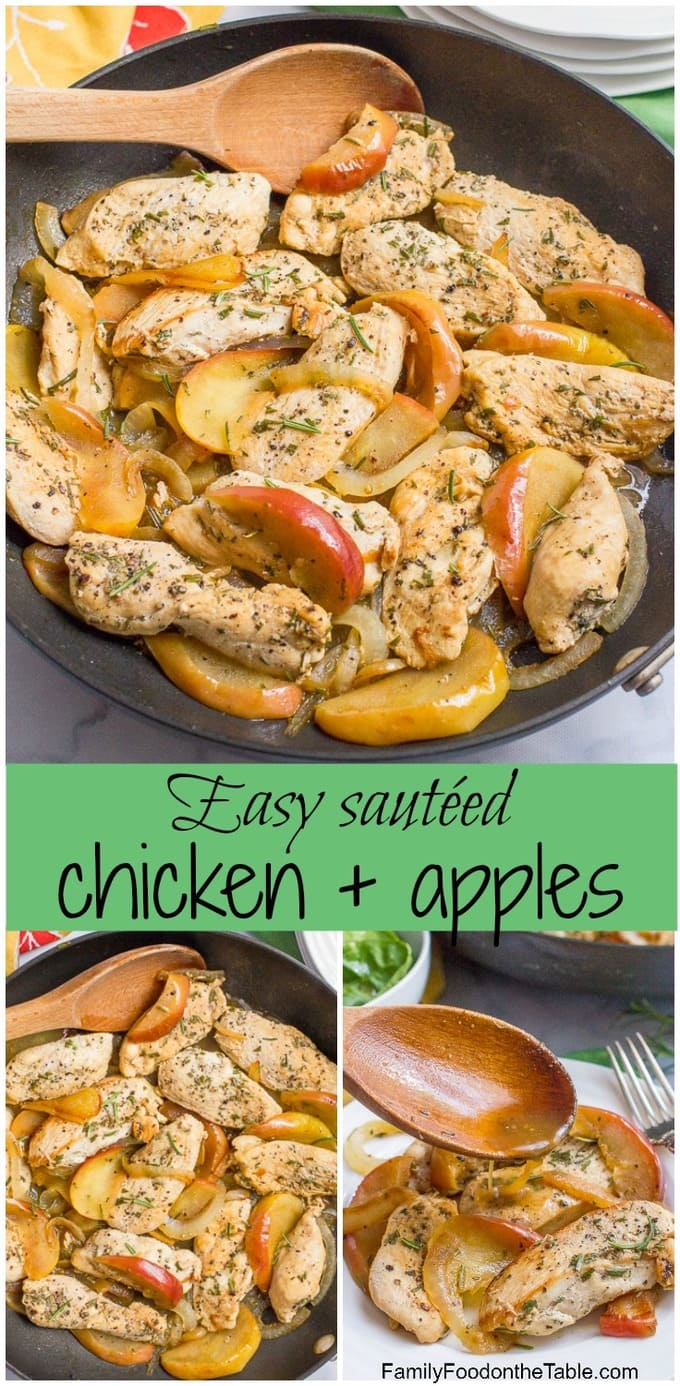 One-skillet sautéed chicken and apples with rosemary is an easy weeknight dinner recipe that's perfect for fall!   www.FamilyFoodontheTable.com