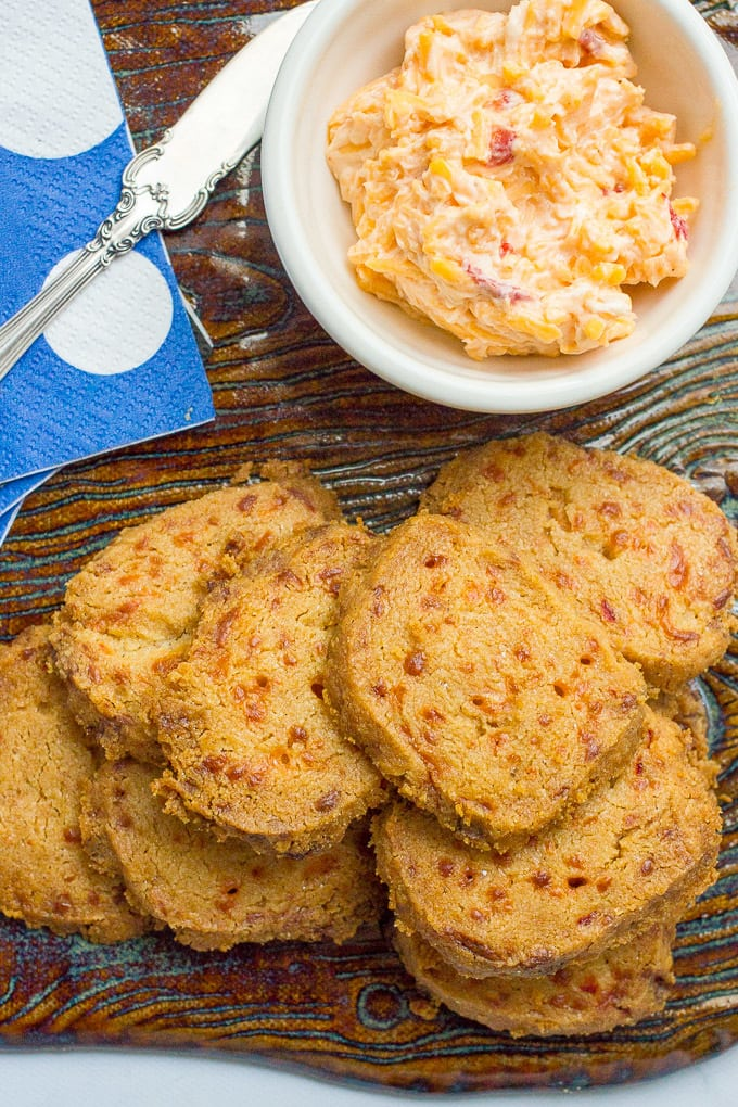 Pimiento cheese crackers -- This easy 4-ingredient recipe makes a great appetizer for a crowd!