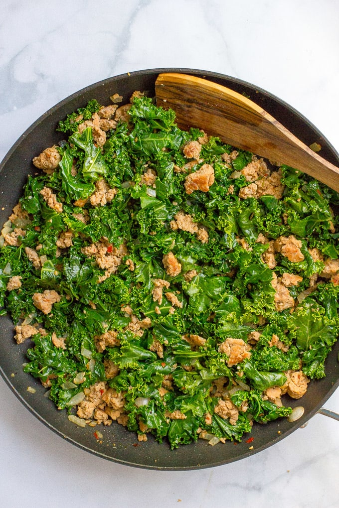 Stuffed spaghetti squash with sausage and kale