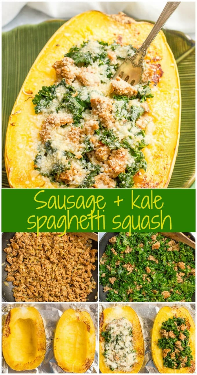 Stuffed spaghetti squash with sausage and kale is an easy 6-ingredient recipe for a delicious, hearty dinner!