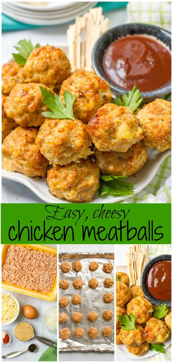 Cheesy chicken meatballs are easy to make, easy to bake and can be ...