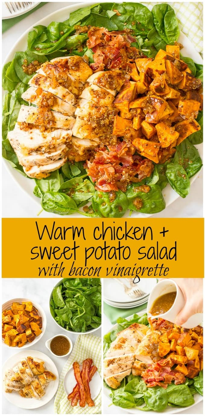 Warm chicken, spinach and sweet potato salad with bacon vinaigrette ...