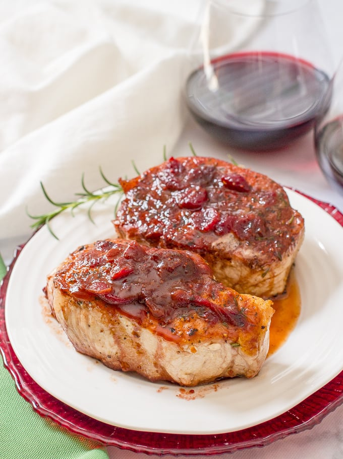 Cranberry balsamic pork chops are a quick and easy weeknight or date night dinner that has serious flavor with simple ingredients