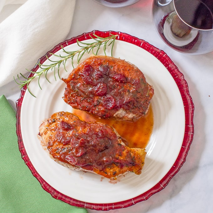 Cranberry balsamic pork chops -- a quick and easy weeknight or date night dinner