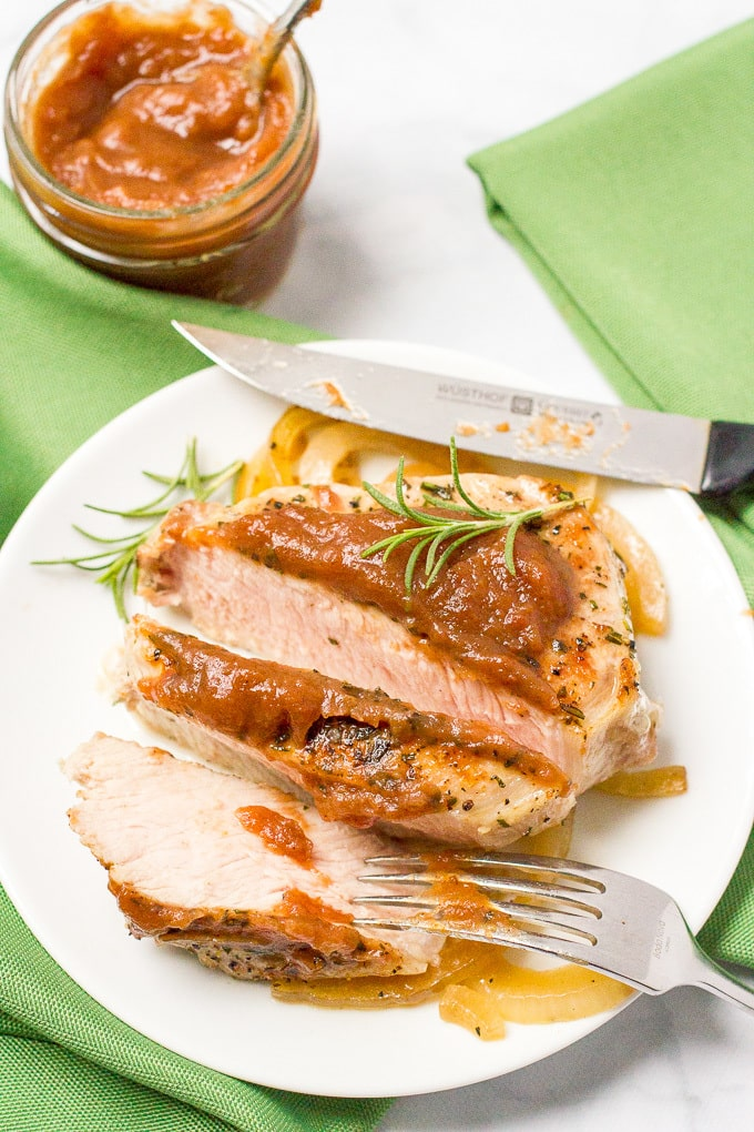 Pork chops with apple butter - an easy weeknight dinner!