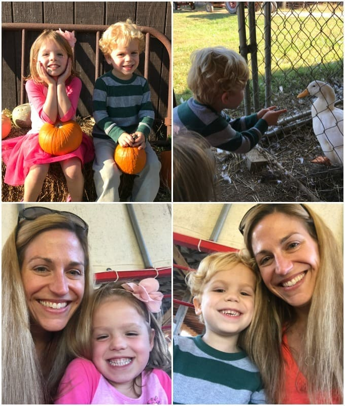 Photo collage of a family pumpkin patch trip