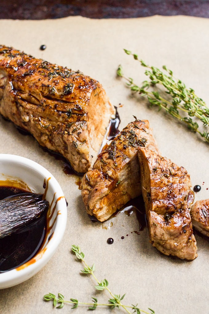 Easy balsamic pork tenderloin with thyme -- just 3 ingredients for this wonderfully rich, delicious dinner!