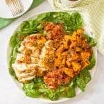 Warm chicken, spinach and sweet potato salad with bacon vinaigrette