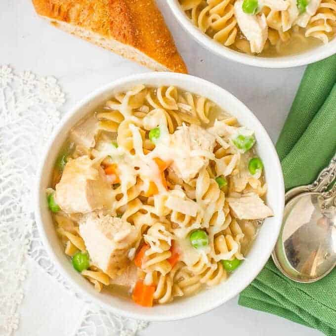 Easy turkey noodle soup requires just 5 ingredients and 15 minutes! A warm, cheesy, comforting dinner and a great use for leftover Thanksgiving turkey.