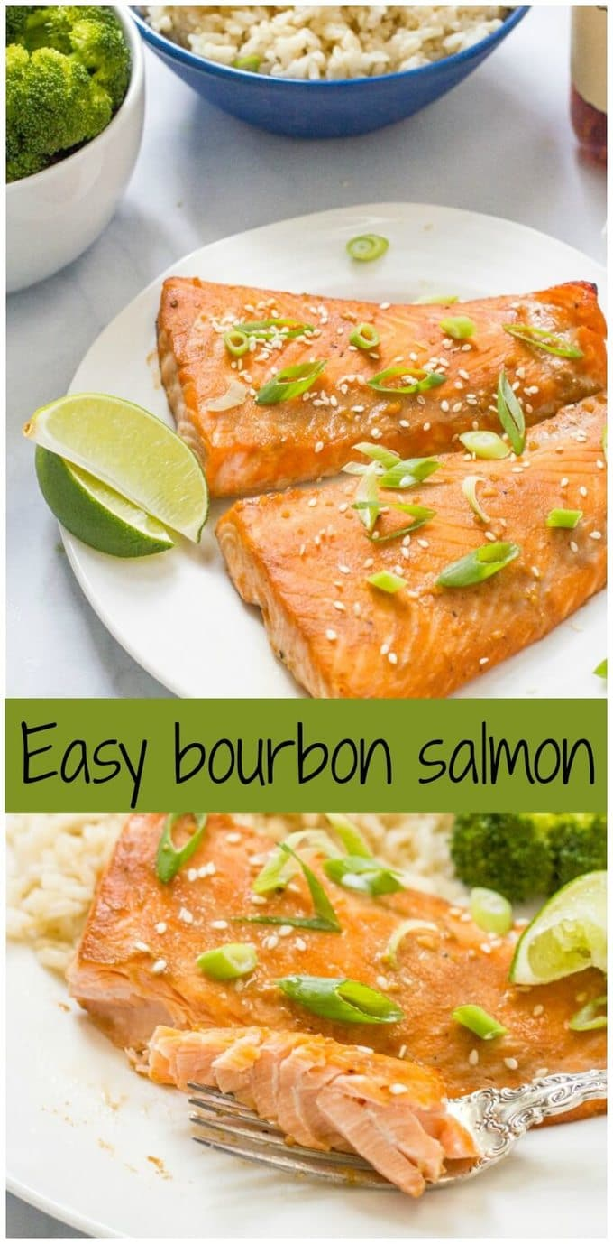 Easy bourbon salmon requires a quick marinade for the salmon filets in a soy sauce, bourbon and brown sugar mixture for a fast weeknight dinner! | www.familyfoodonthetable.com