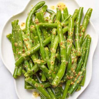 Green beans with mustard butter sauce