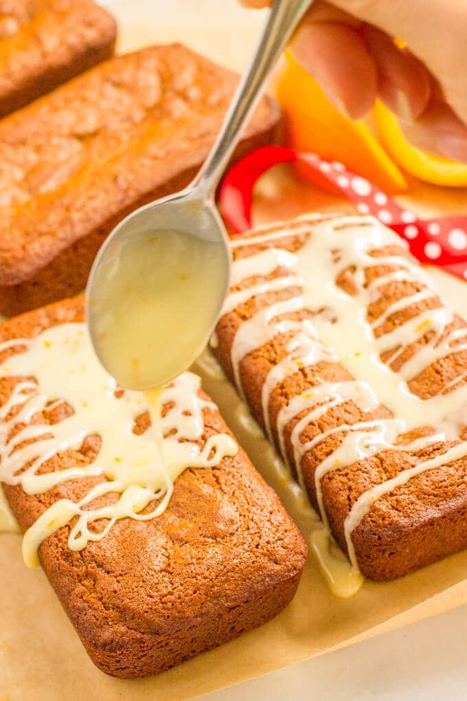 Mini whole wheat gingerbread loaves with an easy orange glaze | www.familyfoodonthetable.com