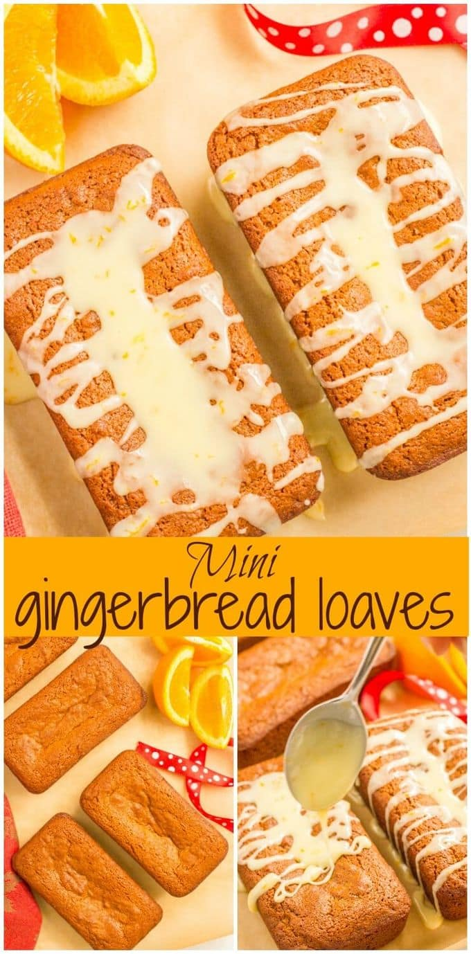 Mini gingerbread loaves with an easy orange glaze make a fun, festive holiday treat - and a great gift for teachers, neighbors and friends! | www.familyfoodonthetable.com