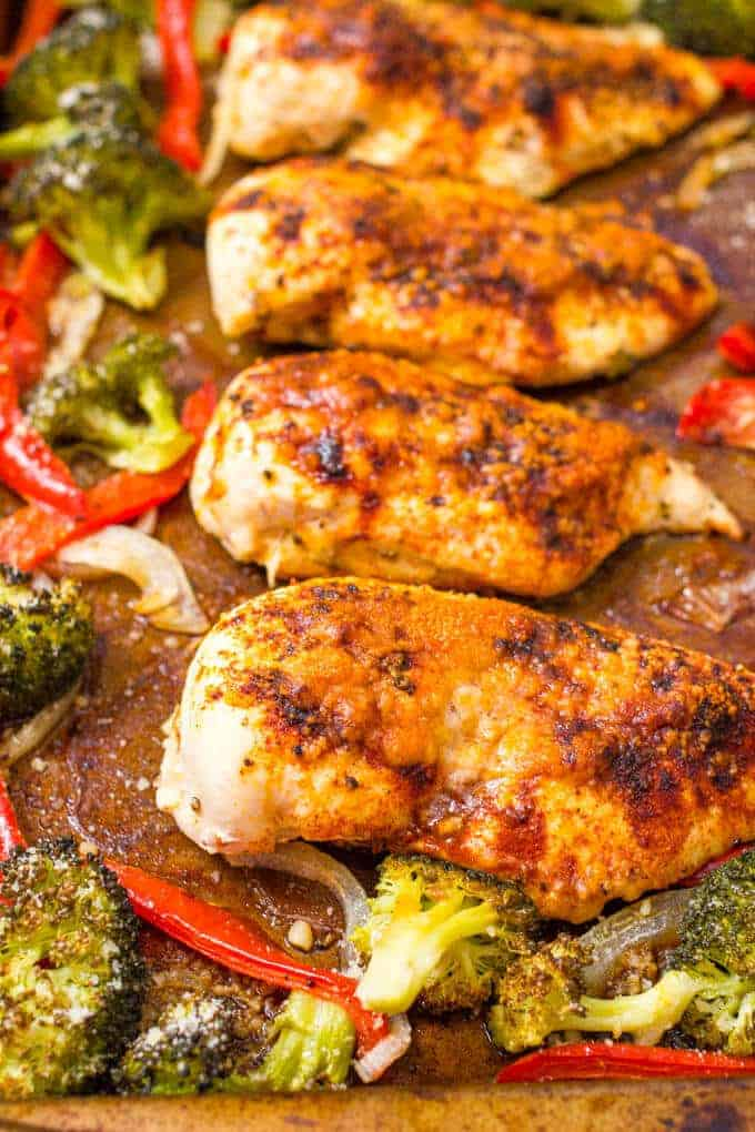 Sheet Pan Chicken And Broccoli With Bell Peppers Family Food On