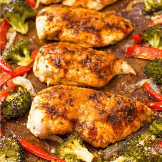 Sheet pan chicken and broccoli with bell peppers