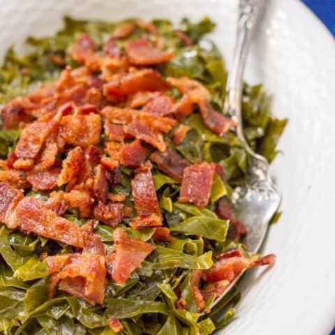 Quick Southern collard greens with bacon have all the great flavor of traditional collards in a fraction of the time for a delicious, easy side dish! | www.familyfoodonthetable.com