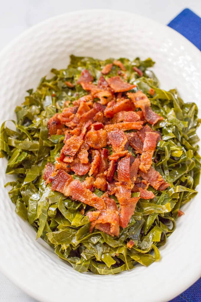 Quick Southern collard greens with bacon are a fast and easy version of this Southern favorite! A great anytime side dish and perfect for New Year's Day!