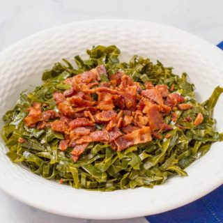 Quick Southern collard greens with bacon - a delicious, easy side dish!