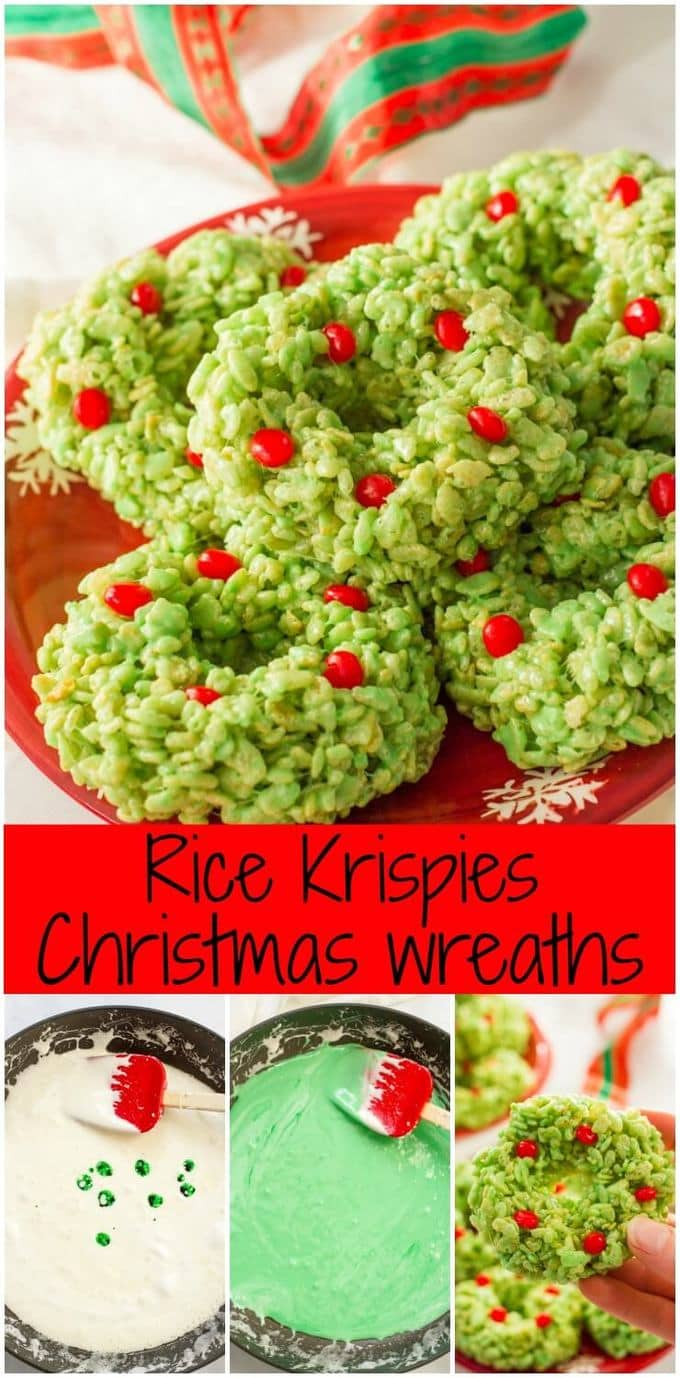 Rice Krispies Christmas wreaths are an easy, fun festive dessert that's perfect for the holiday season and always a hit at parties! | www.familyfoodonthetable.com
