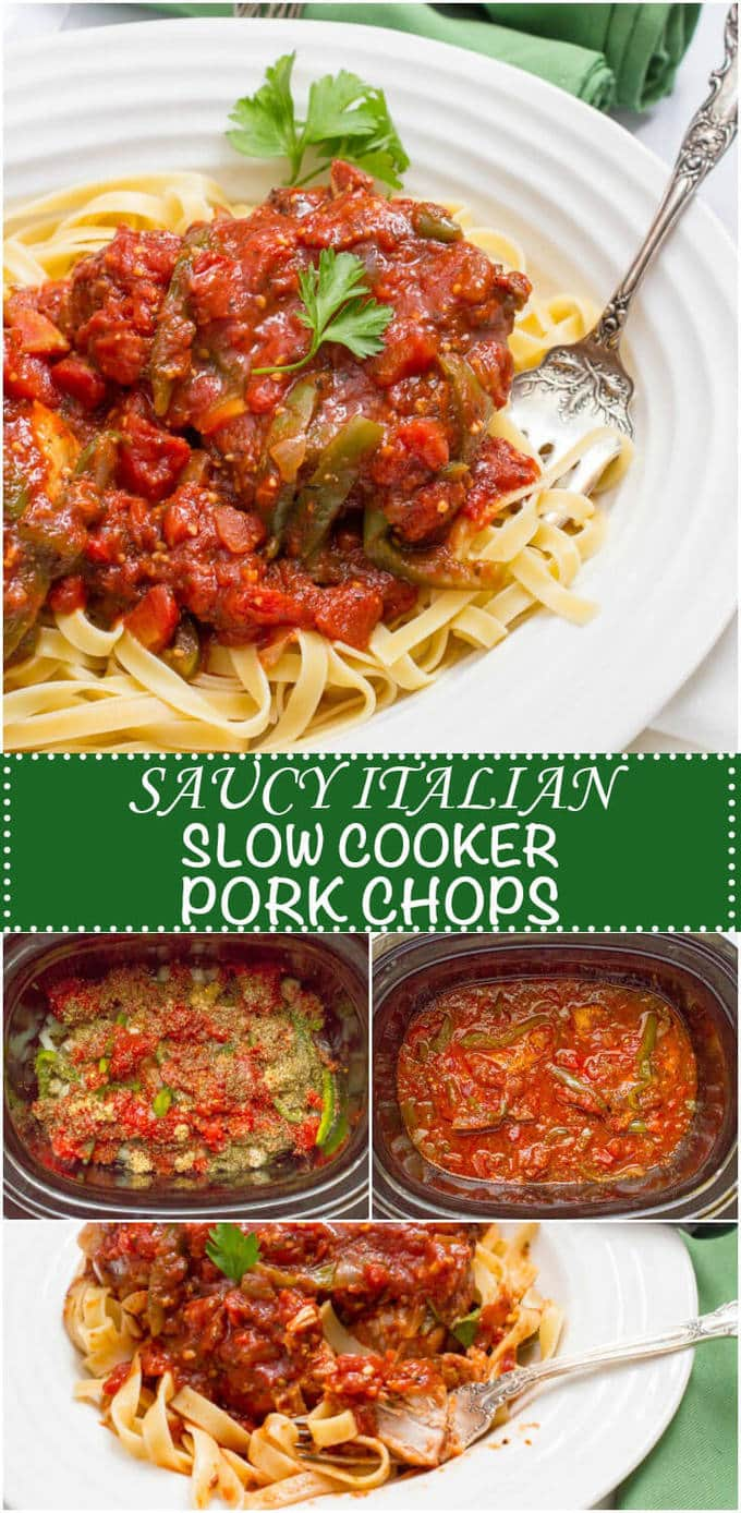 Saucy Italian slow cooker pork chops are an easy, flavorful dinner that's great for date night! #slowcooker #crockpot #porkchops #datenight #dinnerideas