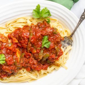 Saucy Italian slow cooker pork chops - an easy, flavorful dinner that's great for date night! | www.familyfoodonthetable.com