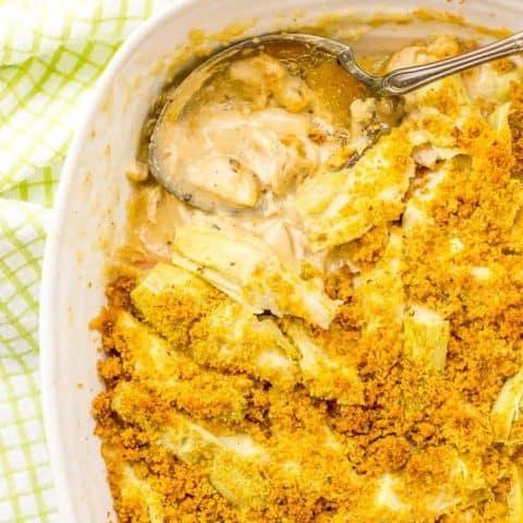 Creamy turkey artichoke casserole