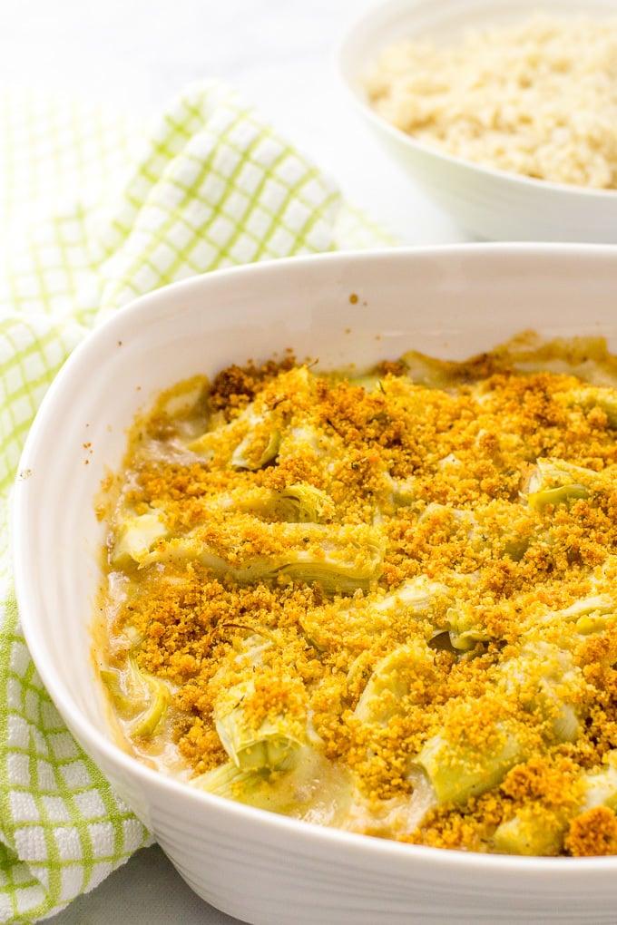 Creamy turkey artichoke casserole | www.familyfoodonthetable.com