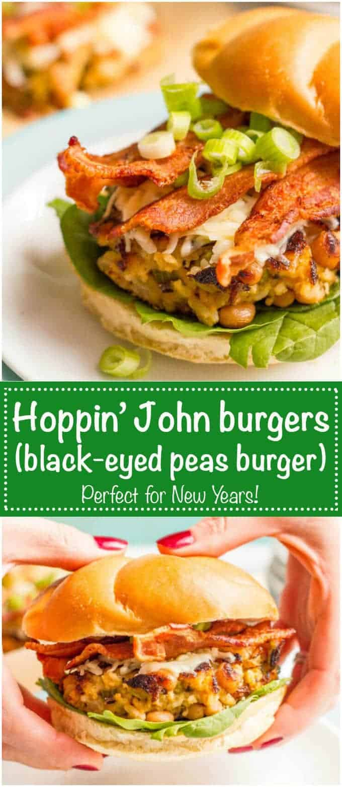 Black eyed peas burgers with brown rice and bacon are like the traditional Southern hoppin' John dish in burger form!