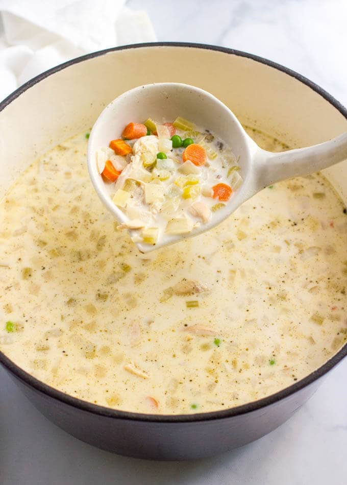 Healthy creamy chicken and wild rice soup