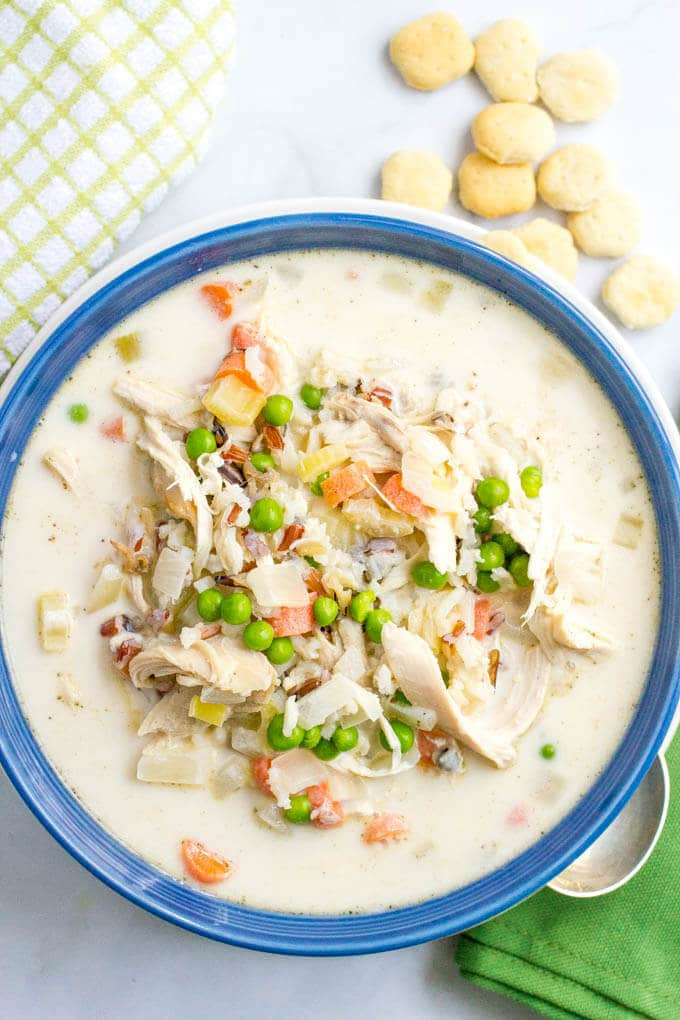 Healthy creamy chicken and wild rice soup - a 30-minute meal filled with veggies and deliciously creamy but light!