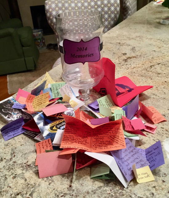 New Year's Eve memory jar -- Write down memories, funny kid sayings, family stories and trips, celebrations and add any ticket stubs to a jar all year long to read through on New Year's Eve | www.familyfoodonthetable.com