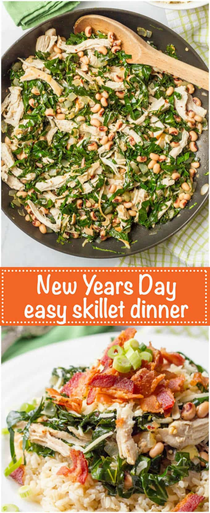 Southern New Year's Day dinner skillet incorporates many of the traditional good luck foods for a quick and easy one-pan meal with incredible flavor! | www.familyfoodonthetable.com