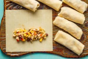 Baked southwestern egg rolls with chicken, black beans and cheese - great for an easy, fun appetizer!