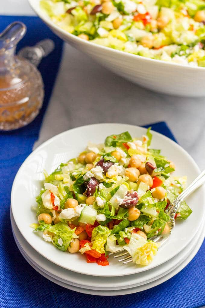 Mediterranean Chopped Salad -- a crunchy, flavorful vegetarian and gluten-free lunch or light dinner! | www.familyfoodonthetable.com