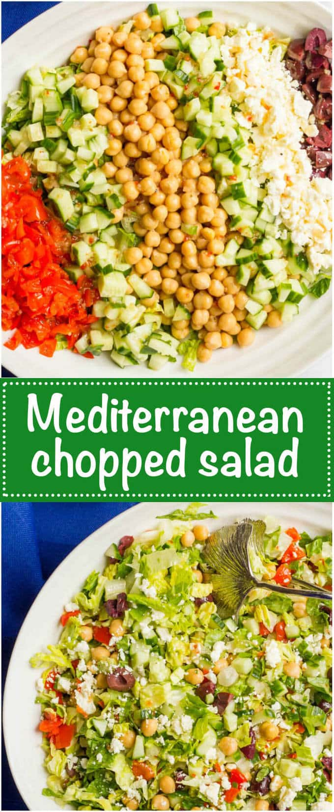 Mediterranean Chopped Salad is a crunchy, flavorful salad with chick ...