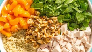 Quinoa chicken spinach salad with honey lime vinaigrette