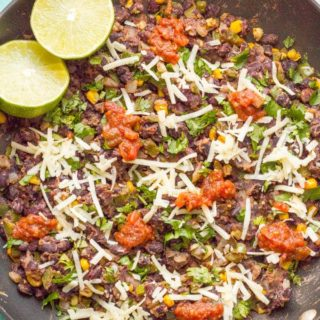 Veggie burger scramble is a quick and easy one-pan dinner that's vegan, gluten free and ready in about 20 minutes! Serve as is, in a tortilla or pita, as lettuce wraps or on a bun. | www.familyfoodonthetable.com