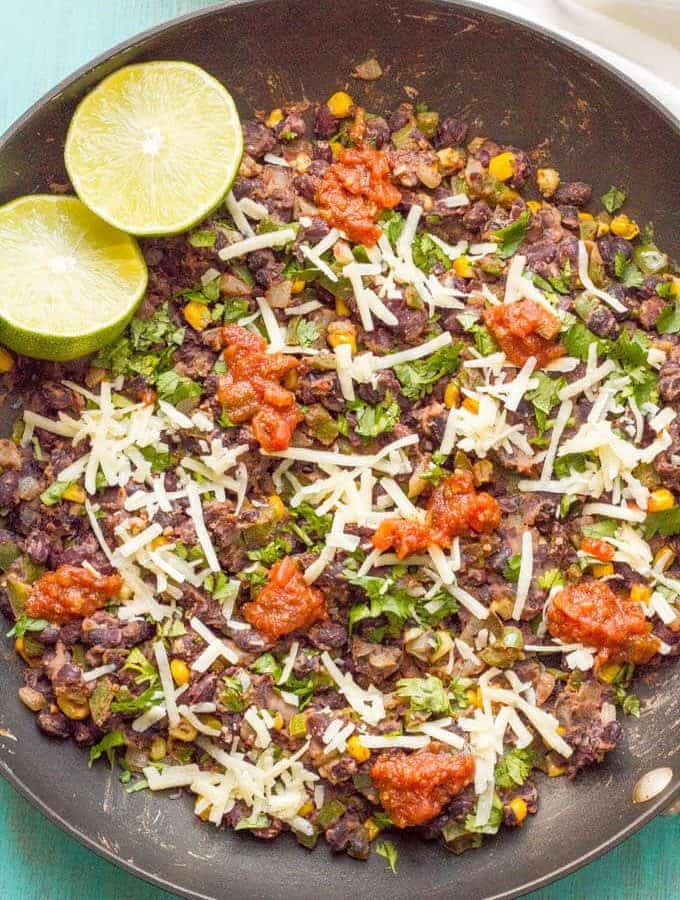 Veggie burger scramble is a quick and easy one-pan dinner that's vegan, gluten free and ready in about 20 minutes! Serve as is, in a tortilla or pita, as lettuce wraps or on a bun.   www.familyfoodonthetable.com