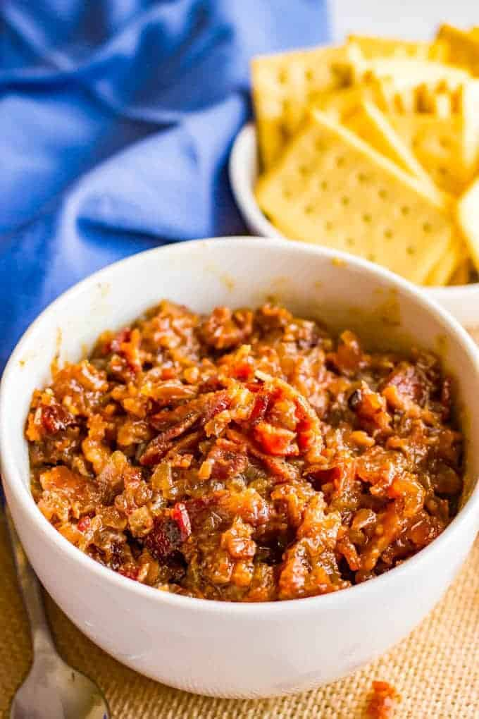 Bourbon bacon jam is a salty-sweet spread with big bacon flavor that's perfect for an appetizer with some cheese and crackers or on burgers or sandwiches or in salad dressings or soups!