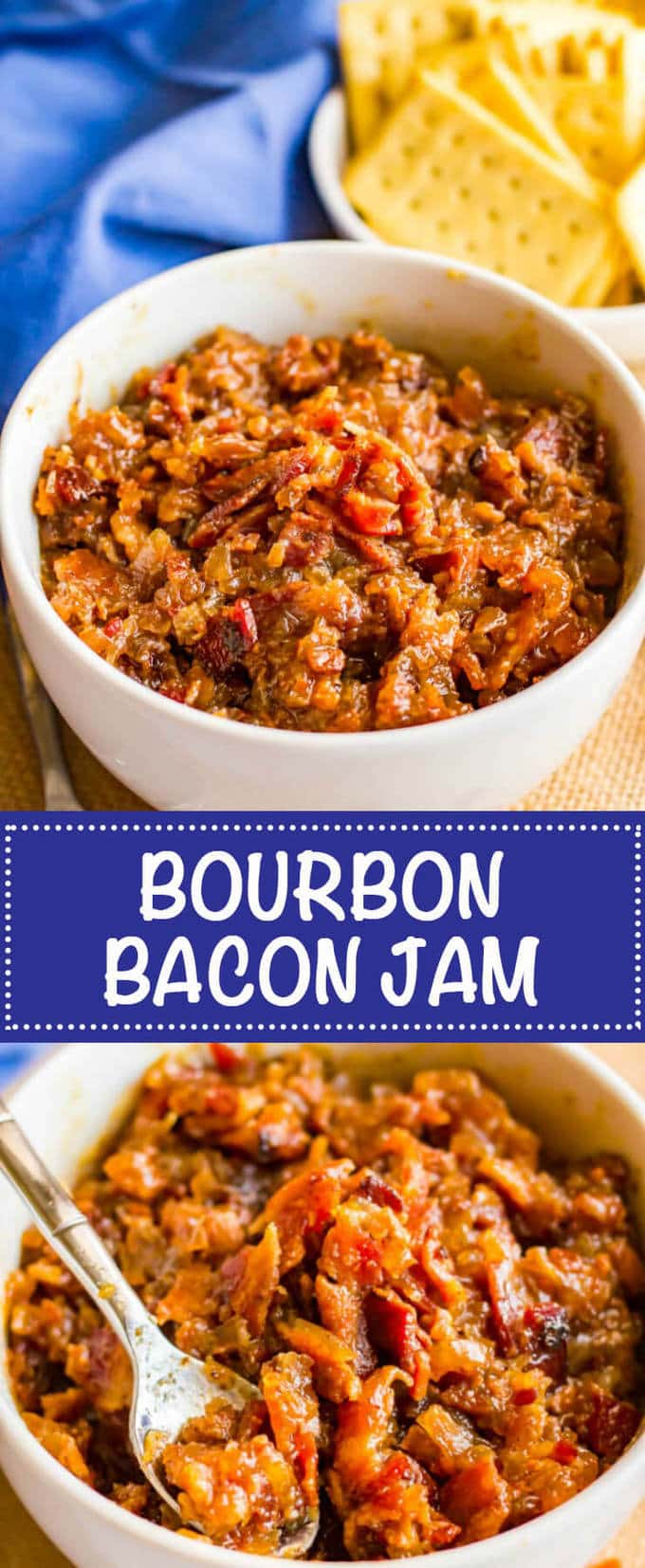 Bourbon bacon jam is a salty-sweet spread with big bacon flavor that's perfect for an appetizer with some cheese and crackers or on burgers or sandwiches or in salad dressings or soups! | www.familyfoodonthetable.com