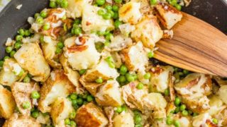 One pan cheesy potatoes and peas